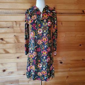 1960s Illegible tag Black & Multi-Color Floral Dre